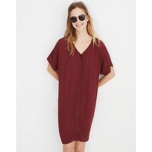 Madewell Button Down Easy Mini Dress red large